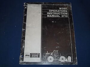 Volvo Bm Euclid Michigan W380 Wheel Loader Operation Maintenance Book Manual