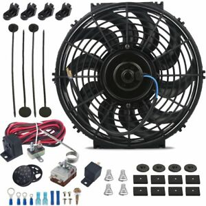 12 Inch Electric Automotive Radiator Fan Adjustable Thermostat Controller Kit