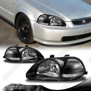 Jdm Black Housing Clear Lens Headlights W Clear Reflector For 96 98 Honda Civic