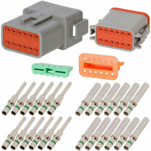Deutsch Dt 12 Pin Gray Connector Kit W 14 Awg Solid Contacts