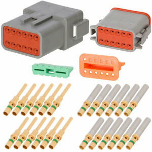 Deutsch Dt 12 Pin Gray Connector Kit W 14 Awg Gold Solid Contacts