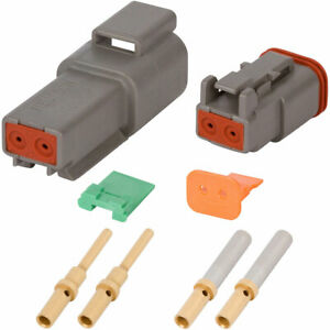 Deutsch Dt 2 Pin Gray Connector Kit W 20 16 Awg Gold Solid Contacts