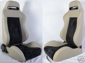 2 Gray Black Racing Seats Reclinable Fit For All Nissan New