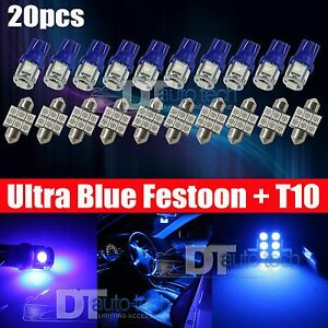 20x 31mm Festoon T10 Led License Plate Map Dome Interior Light Bulbs Blue