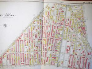 Brooklyn Ny Atlas Map Original Bromley 1908 Plate 23 Linen Bed Stuy