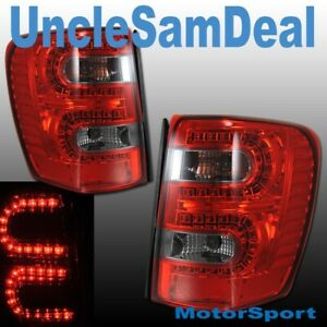 Jeep Grand Cherokee Red Smoke Lens L E D Led Tail Lights Pair Direct Fit