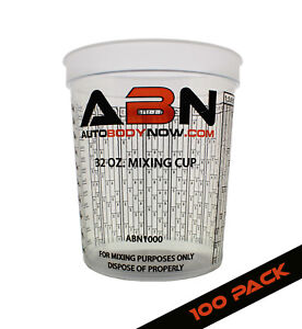 Abn Clear Plastic Paint Mixing Cup 100 Pack 32oz Ounce 946ml Milliliter