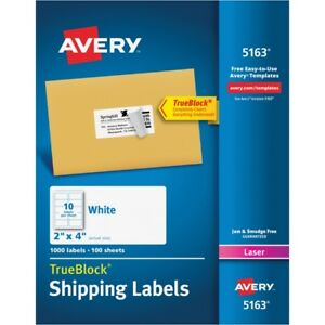 Avery Shipping Labels With Trueblock Technology 5163