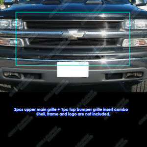 Fits 1999 2002 Chevy Silverado 1500 2000 2006 Tahoe Black Billet Grille Pack