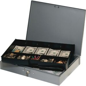 Mmf Heavy Gauge Steel Cash Box With Tray 2215cbtgy