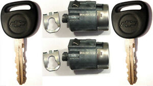 Pair Gm Oem Door Key Lock Cylinders W 2 Chevrolet Bow tie Logo Matching Keys