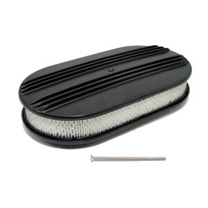 15 Half Finned Black Powder Coated Aluminum Oval Retro Air Cleaner Element