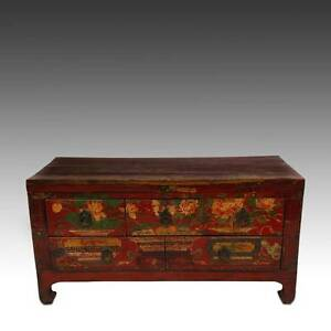 Fine Antique Chinese Shanxi Painted Lacquered Elm Wood Chest Early 20th C