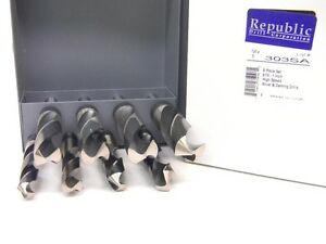New Republic Usa Silver Deming 8pc Drill Set Index 9 16 To 1 X 16ths 8370008