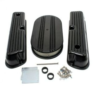 Ford 302 351w Windsor Finned Black Coated Aluminum Valve Covers Air Cleaner Kit