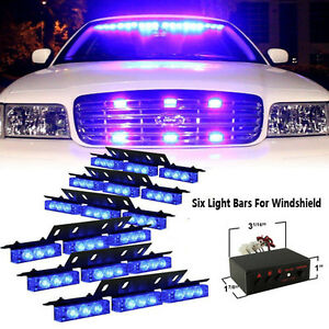 54 Led Blue Car Emergency Hazard Strobe Flash Warning Light For Deck Dash Grille