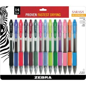 Zebra Pen Sarasa Gel Medium Point Retractable Pens 46824
