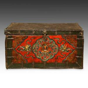 Rare Antique Trunk Painted Pine Iron Tibet Buddhist Chinese Furniture 18th C