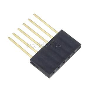 100pcs 2 54 Mm 6 Pin Long Single Row Stackable Shield Female Header For Arduino