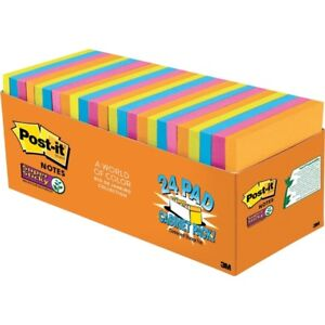 Post it reg Super Sticky Notes 3 X 3 Rio De Janeiro Collection Cabinet Pack