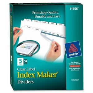 Avery Index Maker Print Apply Clear Label Dividers With White Tabs 11556