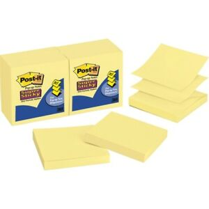 Post it Super Sticky Pop up Notes 3 In X 3 In Canary Yellow R330 12sscy