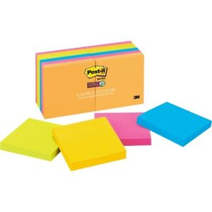 Post it Super Sticky Notes 3 In X 3 In Rio De Janeiro Color Collection