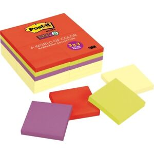 Post it reg Super Sticky Notes 3 X 3 Marrakesh Collection Canary Yellow Pa