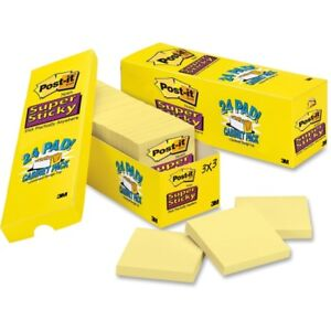 Post it Super Sticky Notes Cabinet Pack 3 In X 3 In Canary Yellow 654 24sscp