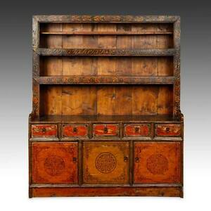 Rare Antique Cabinet Painted Pine Doors Shelves Tibet Chinese Furniture 19th C
