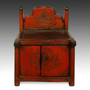 Rare Antique Buddha Stand Altar Painted Pine Tibet Chinese Furniture 19th C