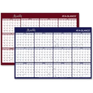 At a glance Erasable reversible Horizontal Yearly Wall Planner A152