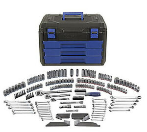 New Kobalt 227 Piece Sae Metric Mechanic S Tool Set Hard Case Socket Storage