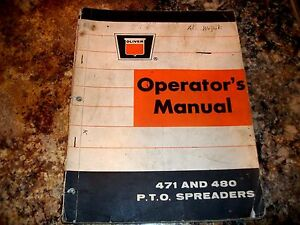Oliver Model 471 480 Pto Spreader Operators Manual With Setting Up Instructions