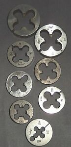 Lot Of 8 Round 4 Flute Threading Dies Of Various Make Ranging From 1 To 7 16