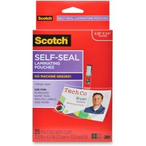Scotch Self laminating Id Clip Style Pouches Mmm Ls852g