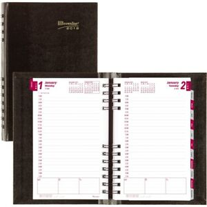 Brownline Coilpro Hard Cover Daily Appointment Book Monthly Planner Cb634cblk