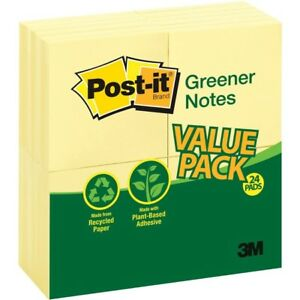 Post it Greener Notes Value Pack 3 In X 3 In Canary Yellow 654rp24yw