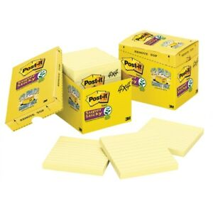 Post it Super Sticky Notes Cabinet Pack 4 In X 4 In Canary Yellow Lined