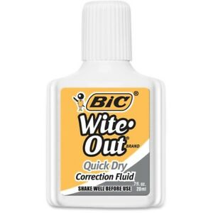 Bic Wite out Quick Dry Correction Fluid Wofqd12 whi
