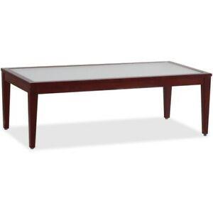 Lorell Glass Top Mahogany Frame Table 59542