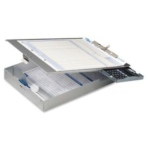 Oic Aluminum Top loading Clipboard W calc 83201