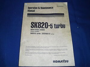Komatsu Sk820 5 Turbo Skid Steer Loader Parts Catalog Book Manual 37btf50112 up