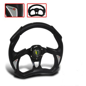 Universal Steering Wheel Black Jdm Racing Honda 6 Bolt Replacement W Horn Button
