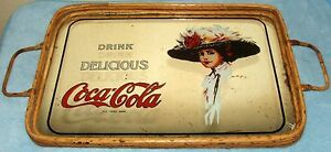 Coca Cola Mirror Serving Bamboo Tray Victorian Lady Advertisement 15 3/4