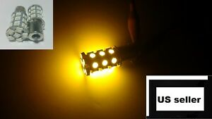 2x 1156 Amber Yellow Turn Signal Led 27 Smd Front Rear Reverse Backup Light
