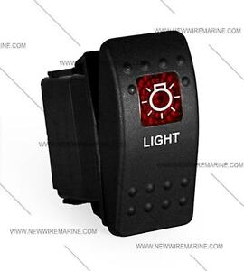 Labeled Boat Marine Contura Ii Rocker Switch Carling Lighted Light red Lens