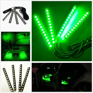 4pcs 12led Car Suv Interior Footwell Decor Atmosphere Green Neon Light Bar Strip