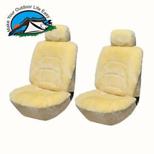 Genuine Universal Australian Sheepskin A Pair Low Back Seat Cover Champagne