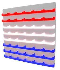 48 Pocket Red White And Blue Business Card Holder W White Acrylic Wall Mount